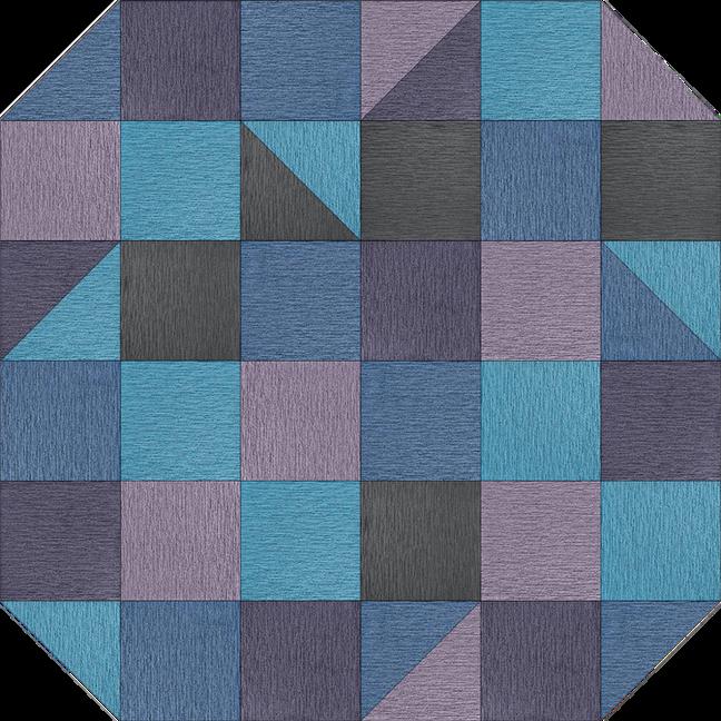 Lay Flat rug image showing custom Made You Look rug in Aquamarine, Lapis, Slate, Lavender