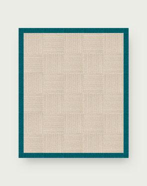 Suit Yourself Quarter Border - Linen / Turquoise - 9x11