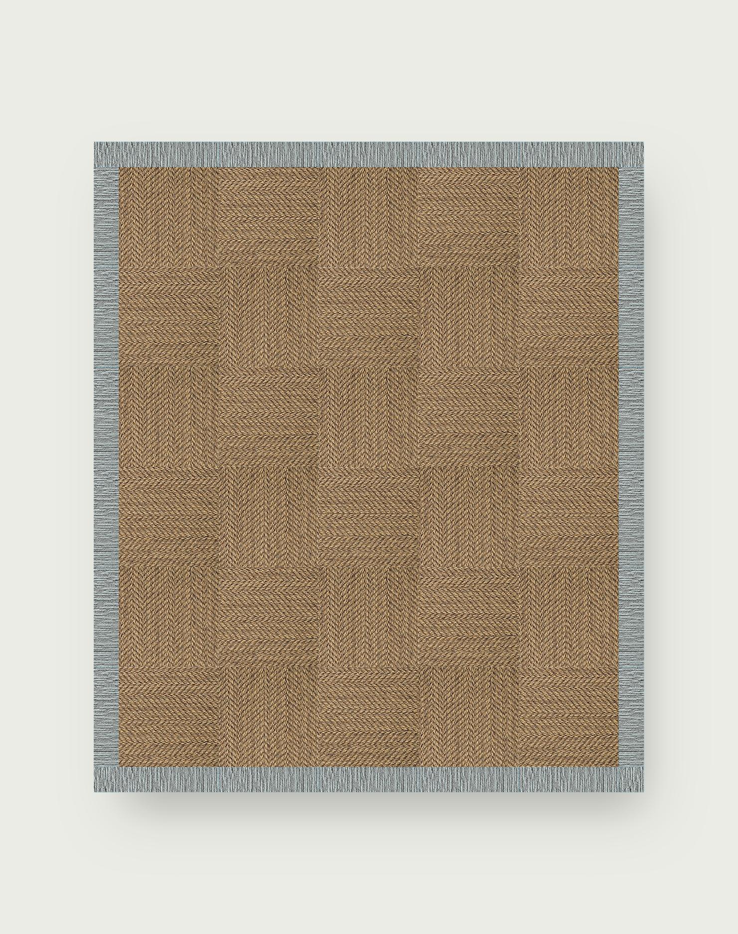 Suit Yourself Quarter Border - Raffia / Flannel Blue - 9x11